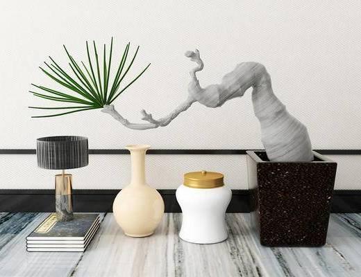 摆件组合, 盆栽, 新中式