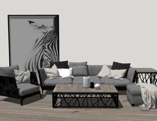 沙发组合, 多人沙发, 茶几, 椅子, 装饰画, 边几, 沙发凳, 现代