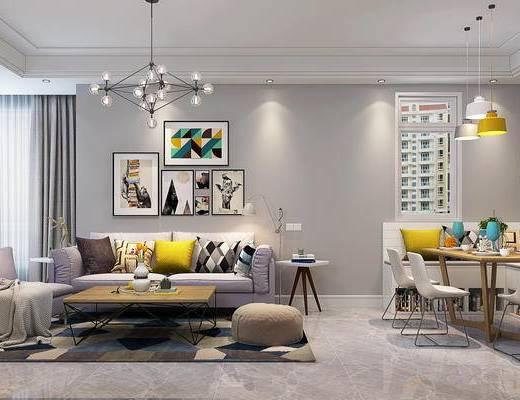 现代客餐厅, 双人沙发, 茶几, 单椅, 沙发凳, 餐桌, 挂画, 现代