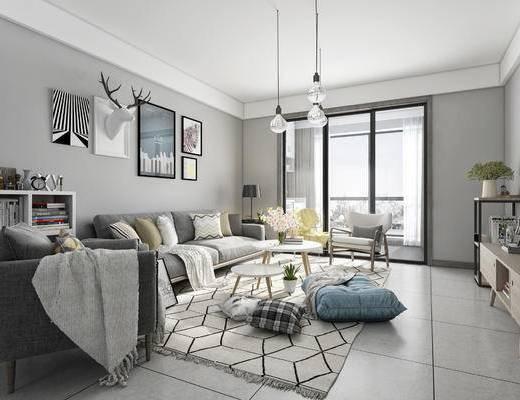 现代客厅, 多人沙发, 墙饰, 茶几, 边柜, 单椅, 书架, 现代