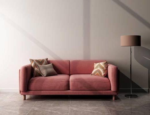 沙发组合, 双人沙发, 落地灯, 现代