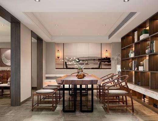 新中式茶室, 桌子, 椅子, 花瓶, 壁画, 置物柜, 边柜, 吊灯, 盆栽, 新中式