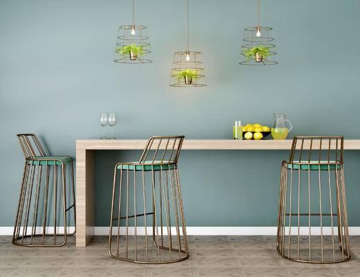 桌椅组合, 吧台, 吧椅, 吊灯, 北欧