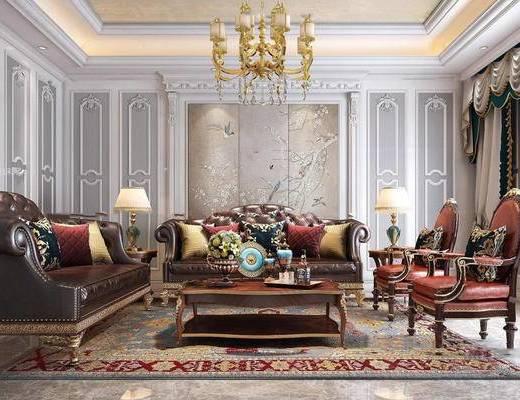 欧式, 古典, 皮质, 沙发组合