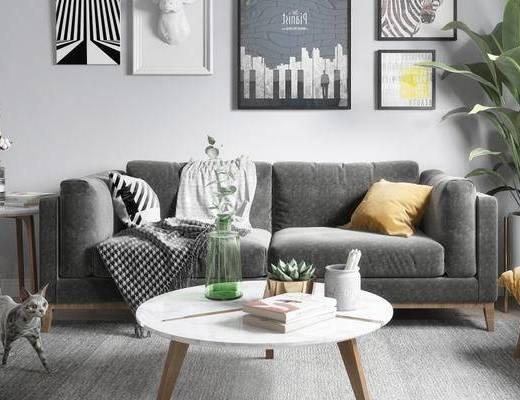 北欧, 客厅, 沙发, 茶几, 盆栽, 挂画, 花瓶, 摆件