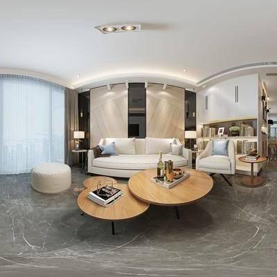 现代简约客餐厅, 现代沙发茶几组合, 沙发凳, 单人沙发椅, 边几, 台灯, 电视柜, 壁灯, 吊灯, 相框, 储物柜, 现代简约