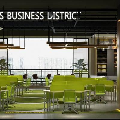 现代办公室, 桌子, 椅子, 吊灯, 盆栽, 置物柜, 现代