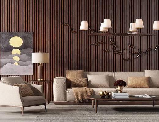 新中式, 沙发茶几组合, 吊灯, 台灯