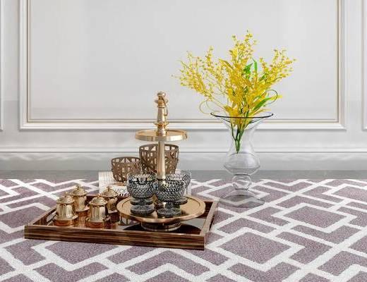 摆件组合, 花瓶, 餐具, 简欧