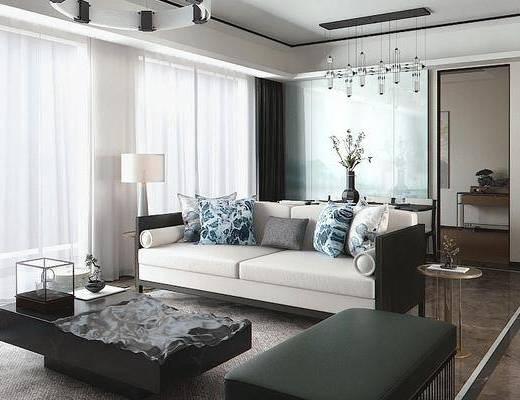 新中式客厅, 客厅, 餐厅, 客厅餐厅, 沙发组合
