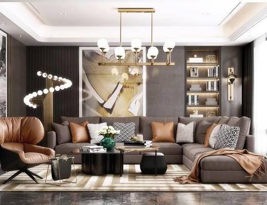 沙发组合, 茶几, 吊灯, 装饰画, 壁灯, 置物柜