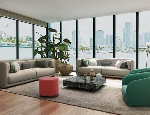 现代简约, 沙发茶几组合, 植物盆栽, 现代