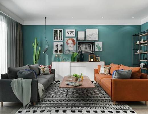 北欧客厅, 双人沙发, 壁画, 吊灯, 置物架, 边柜, 茶几, 盆栽, 地毯, 北欧