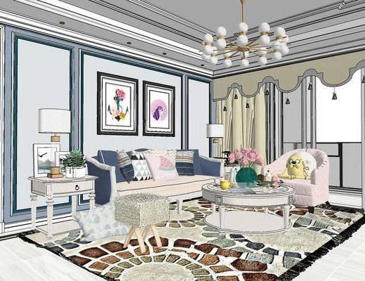 欧式客厅, 客厅, 客厅餐厅, 沙发组合