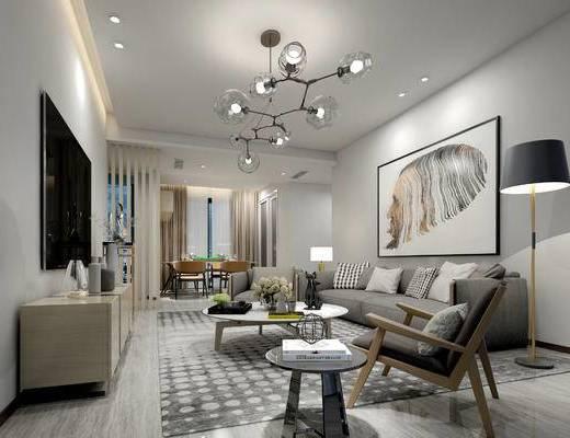 现代客厅, 落地灯, 多人沙发, 茶几, 边几, 椅子, 台灯, 壁画, 电视柜, 地毯, 现代