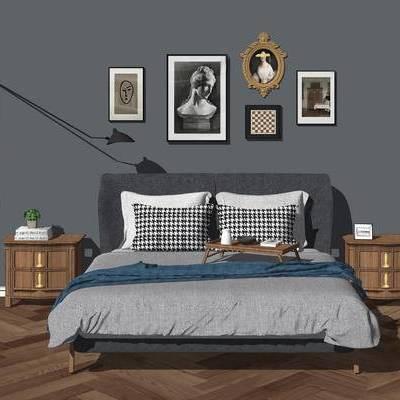 床, 床具, 落地灯, 挂画, 床头柜, 现代