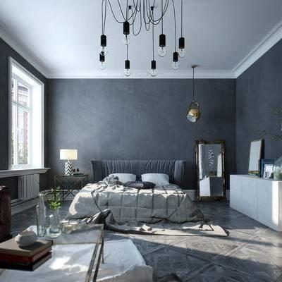 卧室, 床, 沙发, 茶几, 装饰画, 台灯, 北欧