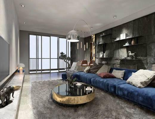 现代客餐厅, 多人沙发, 落地灯, 茶几, 置物架, 电视柜, 现代