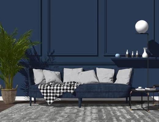 沙发组合, 现代, 植物, 盆栽, 茶几, 台灯