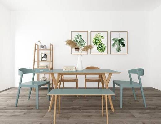 桌椅组合, 壁画, 桌子, 椅子, 置物架, 北欧