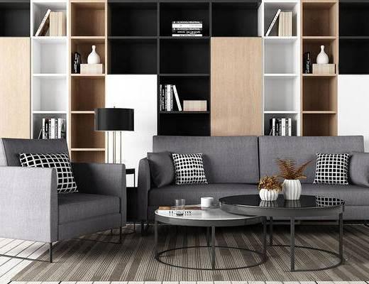 现代简约, 沙发茶几组合, 置物柜, 陈设品组合