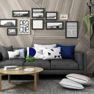 沙发组合, 多人沙发, 茶几, 衣架, 壁画, 现代