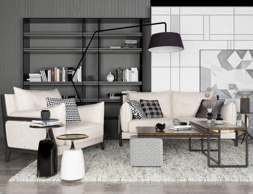 现代沙发组合, 双人沙发, 沙发椅, 茶几, 落地灯, 书架, 现代