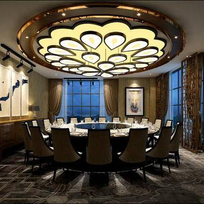 现代包间, 吊灯, 壁画, 桌子, 椅子, 现代