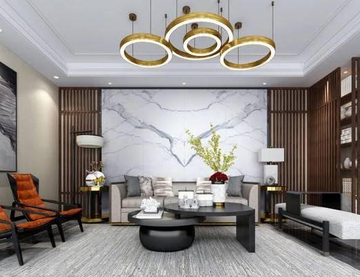 新中式, 客厅, 吊灯, 沙发, 茶几, 落地灯, 台灯, 花瓶, 茶具