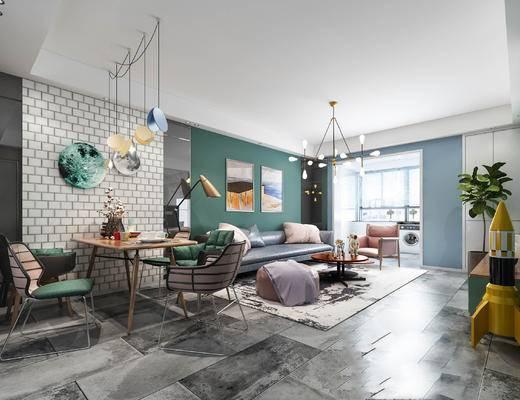 北欧客厅, 吊灯, 桌子, 椅子, 多人沙发, 茶几, 壁画, 电视柜, 北欧