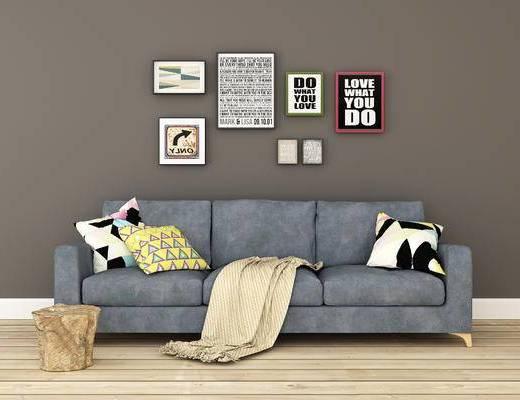沙发组合, 多人沙发, 挂画, 北欧