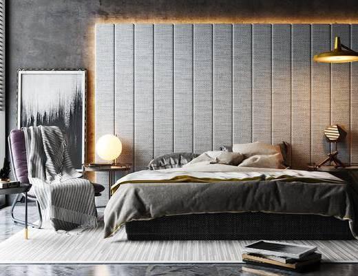 双人床, 床具组合, 单椅, 吊灯