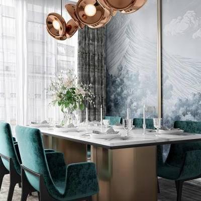 后现代, 桌椅组合, 餐厅, 吊灯, 餐具组合, 下得乐3888套模型合辑