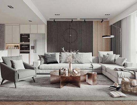 沙发组合, 茶几, 吊灯, 单椅, 摆件组合, 餐桌