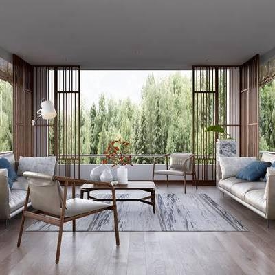 新中式客厅, 茶几, 边几, 新中式沙发, 台灯, 落地灯, 盆栽, 花瓶, 地毯, 新中式