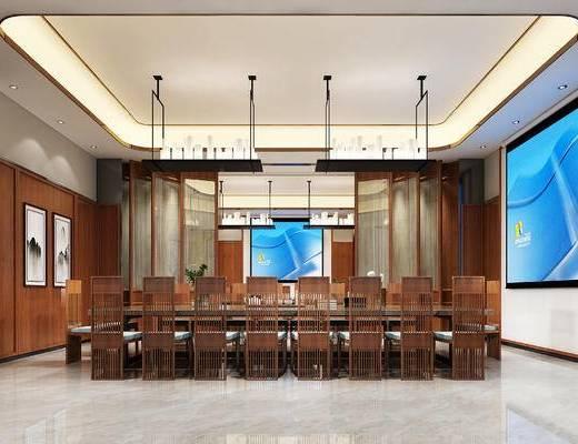 中式会议室, 吊灯, 桌子, 椅子, 壁画, 中式