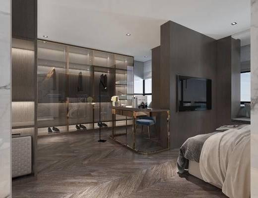 现代衣帽间, 双人床, 衣柜, 鞋子, 落地灯, 桌子, 椅子, 现代