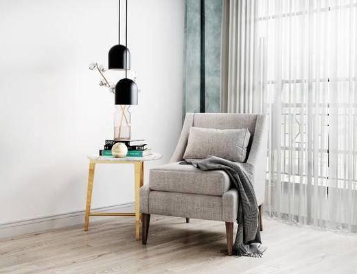 单人沙发, 边几, 吊灯, 北欧
