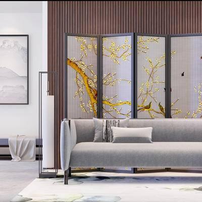 沙发组合, 多人沙发, 壁画, 屏风, 落地灯, 沙发躺椅, 地毯, 现代