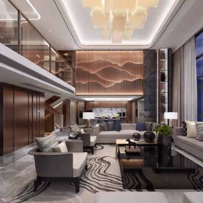 别墅客厅, 沙发组合, 沙发茶几组合, 多人沙发, 壁画, 吊灯, 地毯, 现代