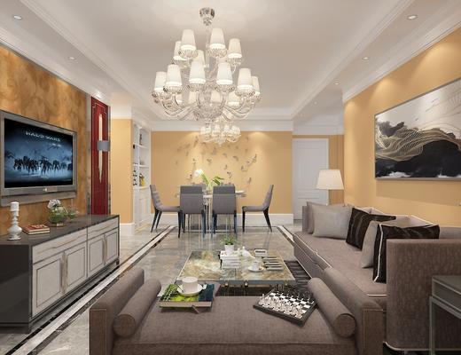 现代, 现代客厅, 沙发组合, 沙发茶几组合, 桌椅组合, 餐厅