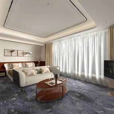 现代卧室, 边几, 双人床, 床头柜, 台灯, 壁画, 现代