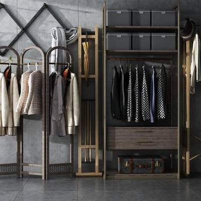 衣架, 衣柜, 置物架, 衣服, 现代