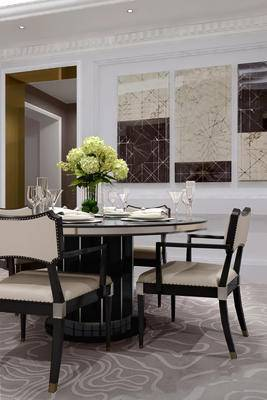 美式餐厅, 桌子, 椅子, 花瓶, 壁画, 酒杯, 美式
