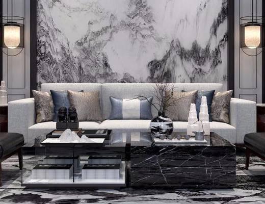 新中式, 沙发茶几组合, 茶具组合