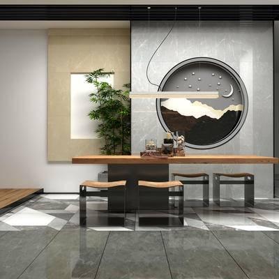 新中式茶室, 桌子, 凳子, 壁画, 吊灯, 盆栽, 新中式