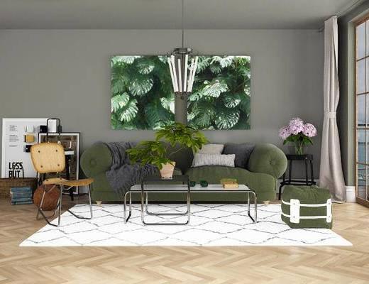 沙发组合, 双人沙发, 茶几, 椅子, 壁画, 沙发凳, 北欧