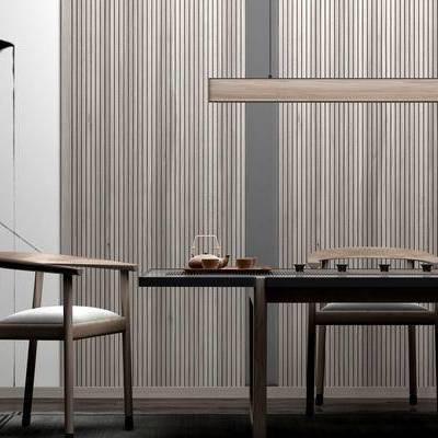 茶室, 桌子, 椅子, 壁画, 花瓶, 中式