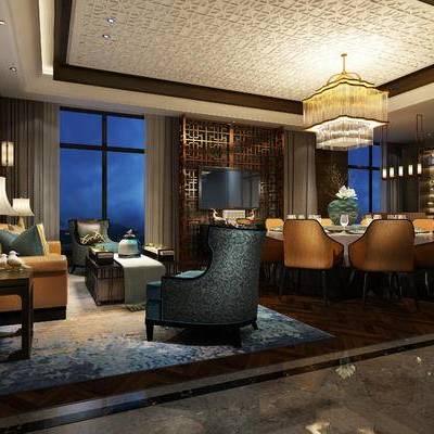 中式包间, 桌子, 椅子, 多人沙发, 茶几, 壁画, 边几, 台灯, 吊灯, 壁灯, 置物柜, 花瓶, 地毯, 中式