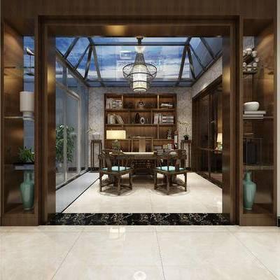 新中式书房, 置物柜, 桌子, 椅子, 台灯, 边几, 新中式